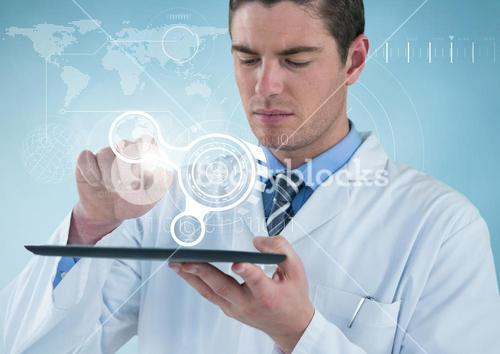 Man in lab coat with tablet and white interface against blue background with interface