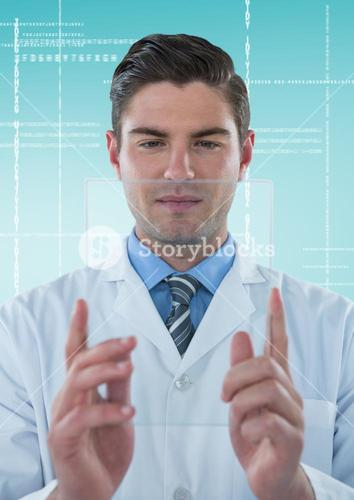 Man in lab coat holding up glass device against white interface and blue background
