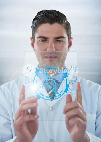 Man in lab coat holding up glass device with blue medical interface and flare against grey backgroun