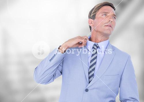 Stressed but cool businessman in office