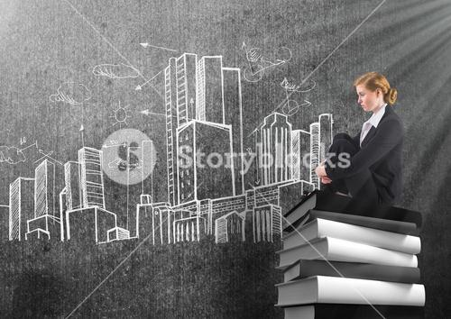 Businesswoman sitting on 3D Books stacked by city buildings drawings