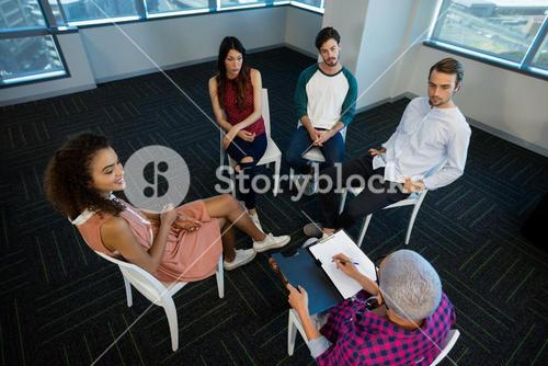 Creative business team discussing