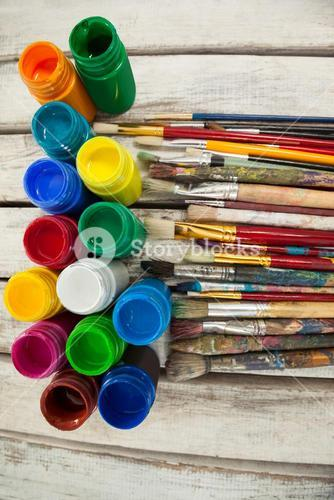Watercolor paints and paint brushes