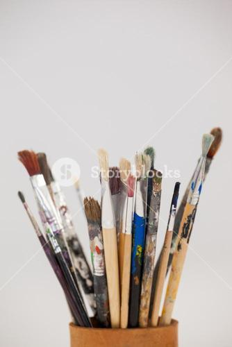 Varieties of paint brushes in jar