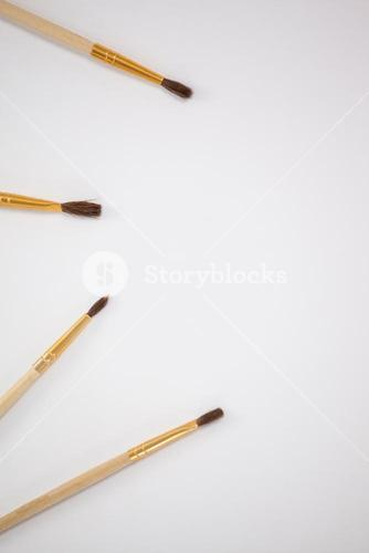 Paint brushes against white background