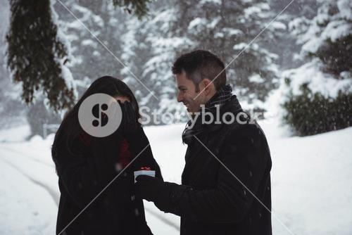 Woman covering her eyes while man giving surprise gift in forest