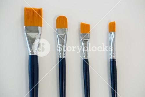 Various paintbrushes arranged in a row