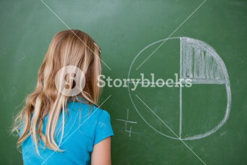 Schoolgirl learning the divisions