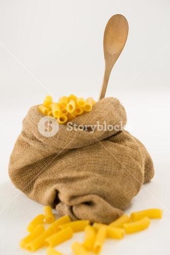 Sack full of macaroni pasta