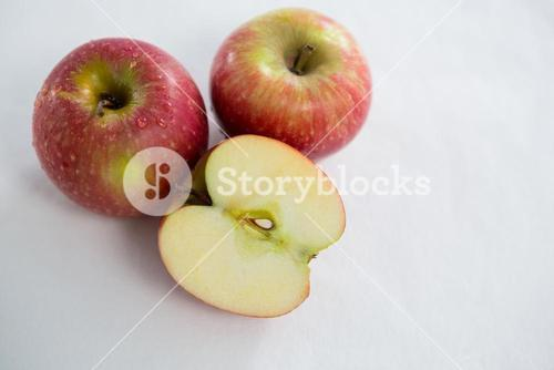 Red apples with water droplets