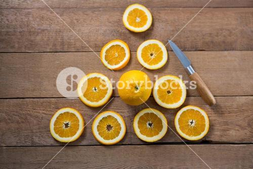 Overhead of oranges forming a triangle shape