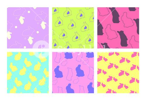 Vector icon set of colorful easter bunny