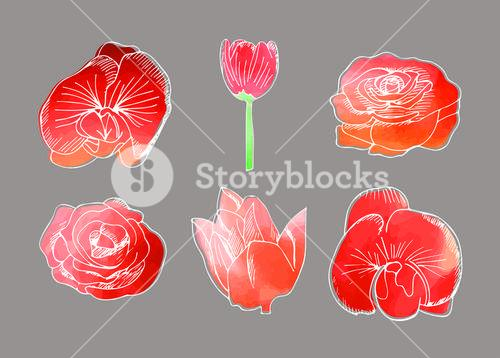Vector icon set of flowers