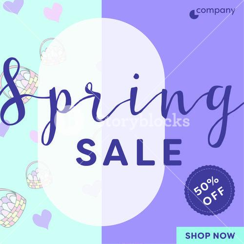 Card with spring sale message