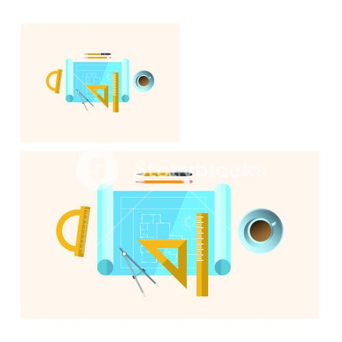 Vector of stationery with coffee cup