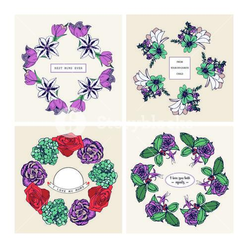 Set of cards with floral design and mothers day wishes