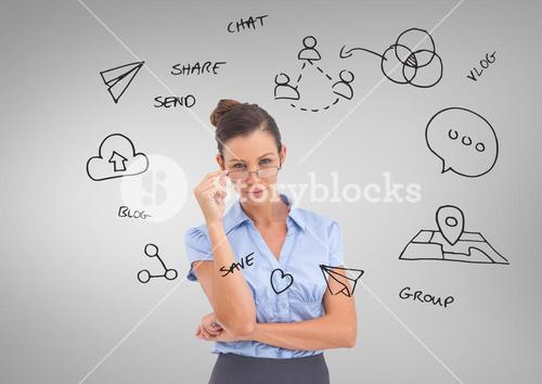 Businesswoman with social media business graphics drawings