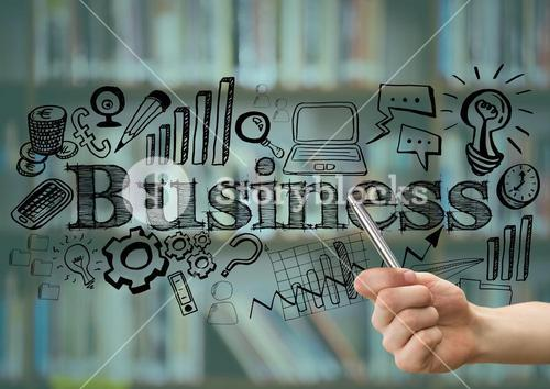 Hand with pen pointing to black business doodles against blurry bookshelf and teal overlay