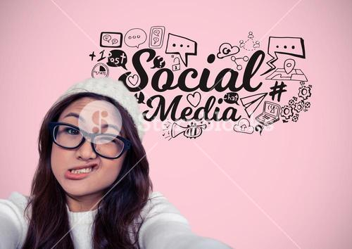 Woman with funny face and social media graphics drawings