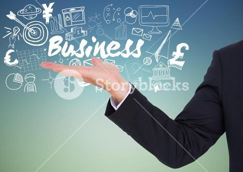 Business man hand and white business doodles against blue green background