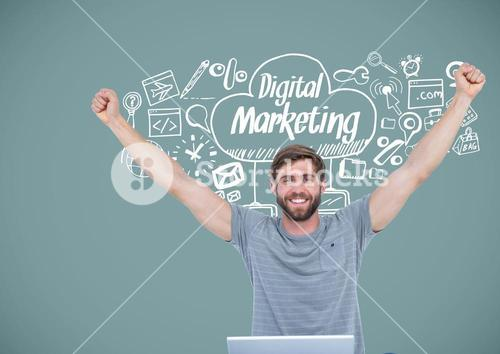 Man with marketing drawings graphics