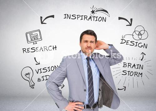 Businessman with research brainstorm graphic drawings