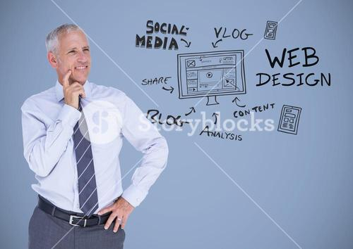 Businessman with social media design graphics drawings