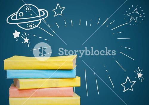 Pile of books with white space doodles against blue background
