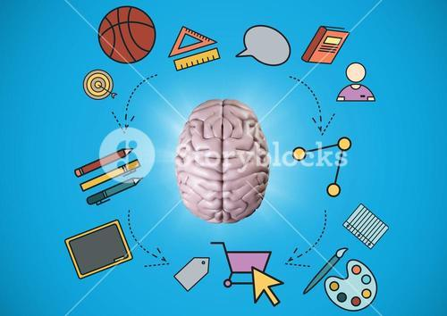 Pink brain with education graphics against blue background