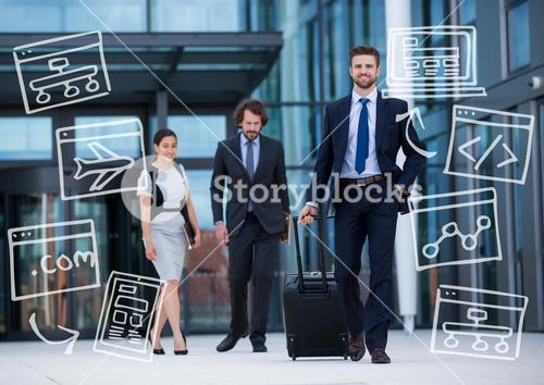 Three business people walking with white business doodles