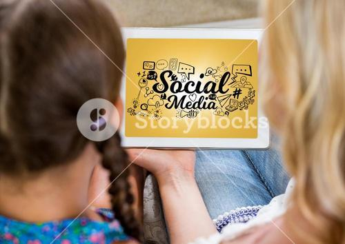 Mother and daughter with tablet showing black social media doodles against yellow background and fla