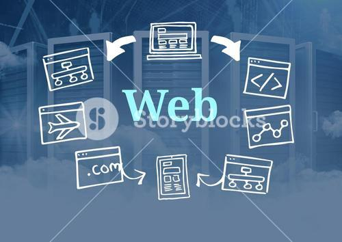 Web text with drawings graphics