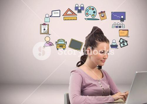 Woman with craetive education icons graphics drawings