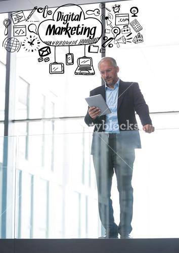 Business man on balcony with black business doodles