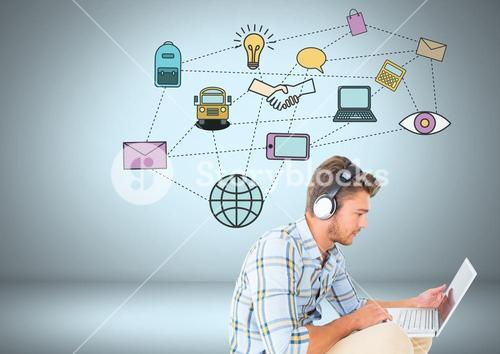 Man with technology and business graphics drawings