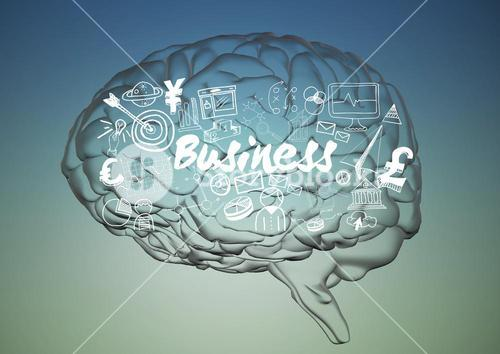 Transparent brain with white business doodles against blue green background