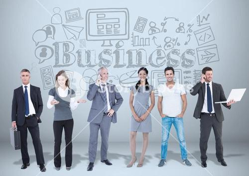 Business people with business graphics drawings