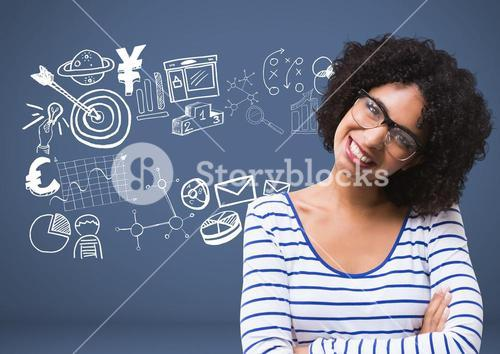Woman with Business graphics drawings
