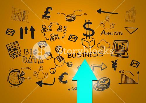 Blue arrow with flare against black business doodles and yellow green background