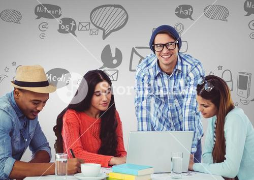 People on laptop happy with social media graphics drawings