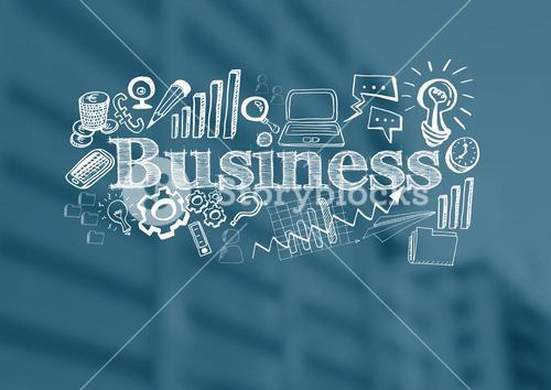 Business text with drawings graphics