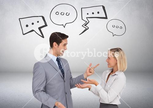 Business people chatting with speech bubble graphics drawings