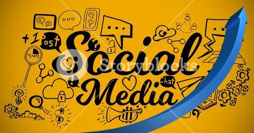 Blue arrow with black social media doodles against yellow background