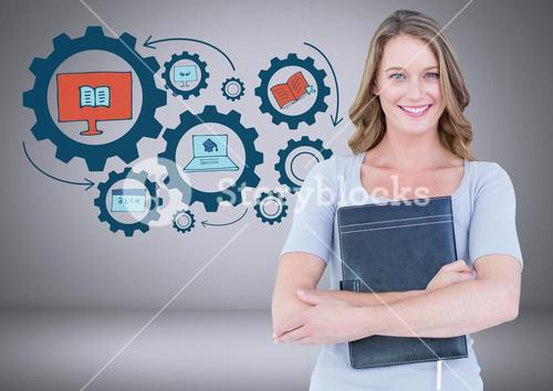 Woman with education graphics drawings