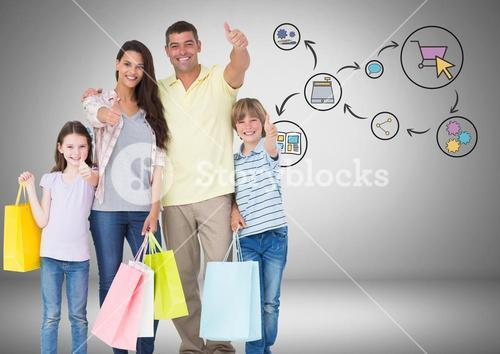 Family with shopping bags and online shopping graphic drawings