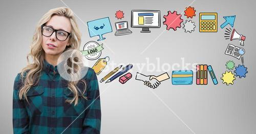 Woman with creative work graphic drawings