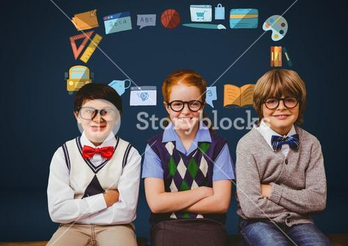 Children with glasses and school education graphic drawings
