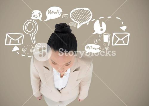 Businesswoman with Business graphics drawings
