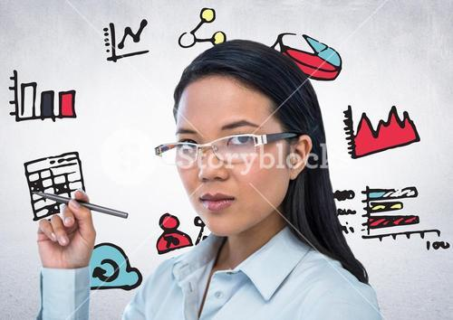 Woman with pen and pink blue yellow business doodles against white wall