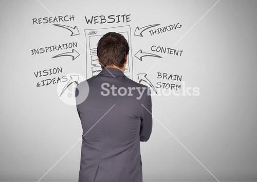 Businessman with website business research graphic drawings